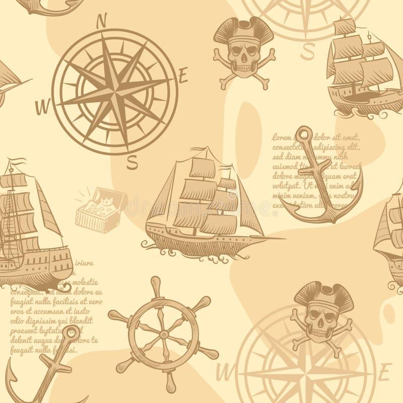 Rocznika nautyczny bezszwowy wzór Ręki nakreślenia przygody rysunkowej morskiej starej podróży rękopiśmienna tapetowa wektorowa t royalty ilustracja