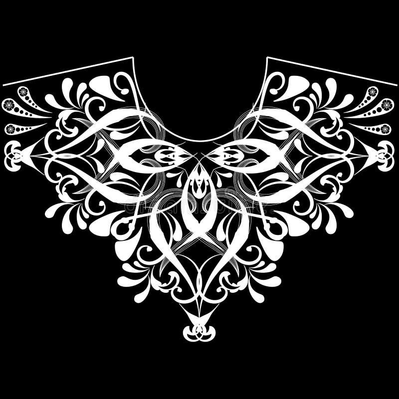 Rocznika neckline kwiecisty czarny i biały wzór Wektorowy ornamentacyjny kobiecy mody tło Etniczny stylowy szyi linii ornament ilustracji