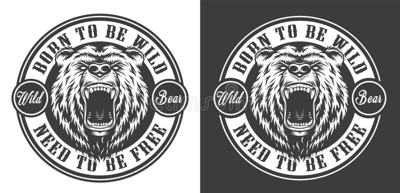 Rocznika niedźwiedzia głowy round okrutnie emblemat royalty ilustracja