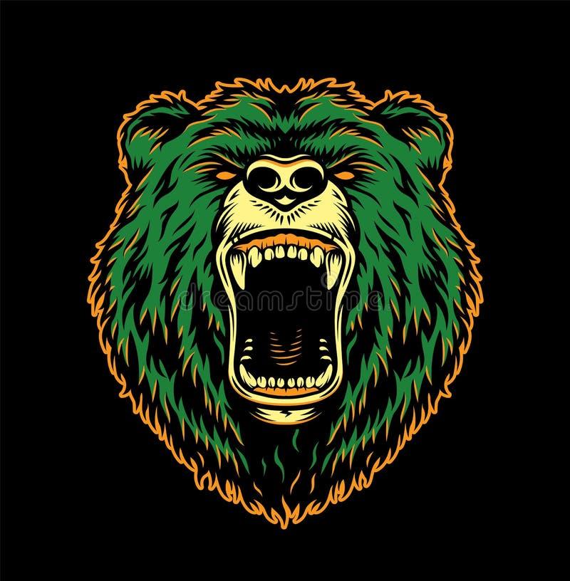 Rocznika niedźwiedzia okrutnie głowa royalty ilustracja