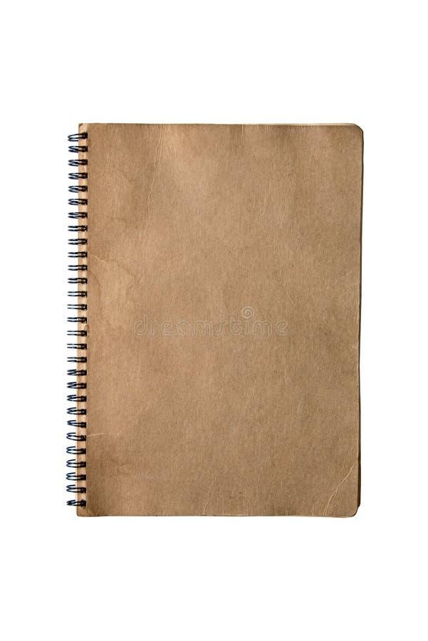 Rocznika notepad brązu stara pokrywa odizolowywa na białym tle fotografia stock