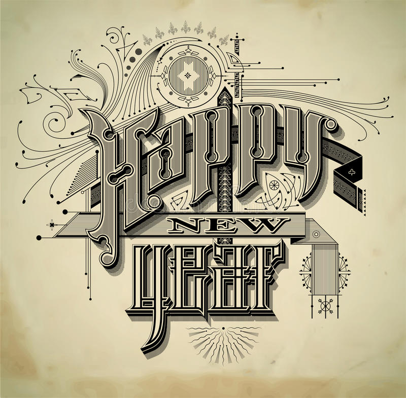 Rocznika nowego roku stylowa karta ilustracja wektor