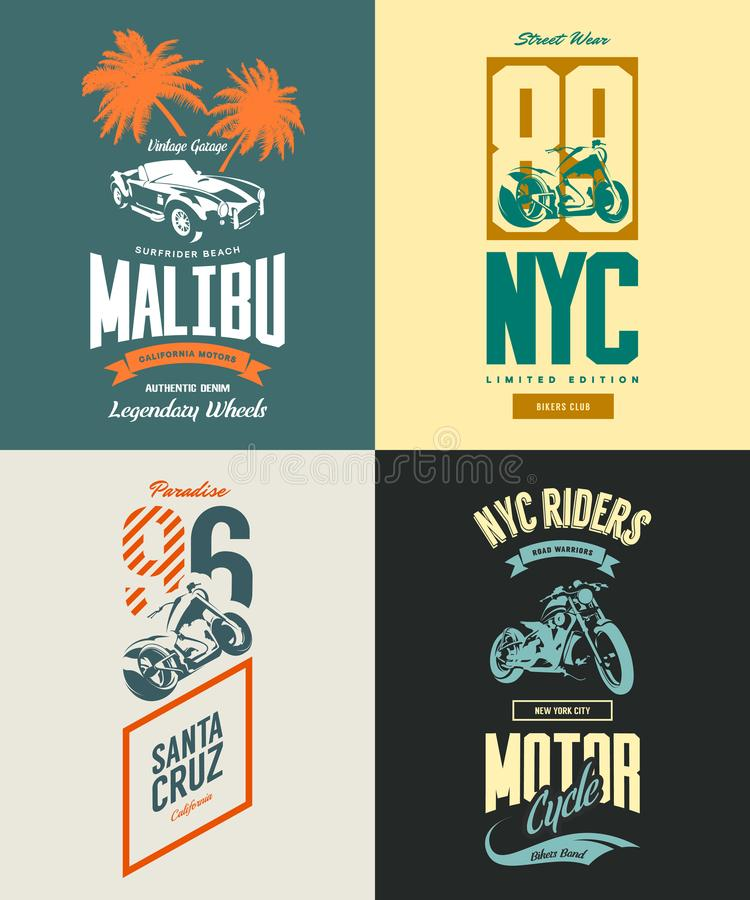 Rocznika Nowy Jork rowerzyści tłuc wektorowego koszulka loga set ilustracji