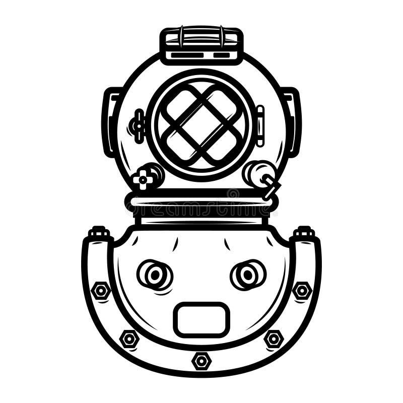 Rocznika nurka hełm Projektuje element dla loga, etykietka, emblemat, znak ilustracji