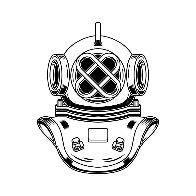 Rocznika nurka hełm w rytownictwo stylu Projektuje element dla loga, etykietka, emblemat, znak, plakat, t koszula ilustracji