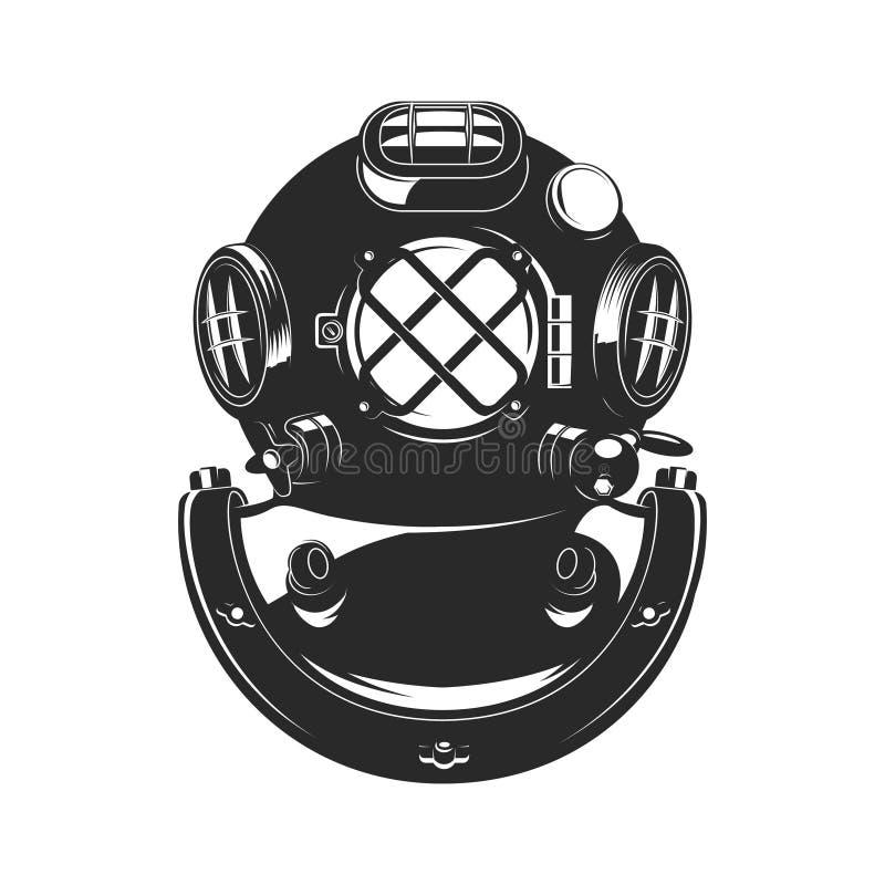 Rocznika nurka stylowy hełm ilustracji