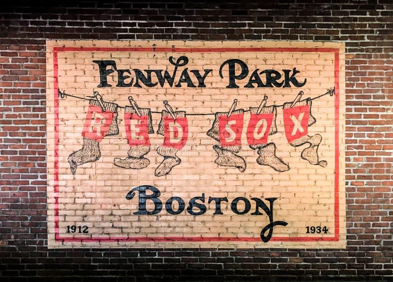 Rocznika obraz na ściana z cegieł Fenway park obrazy stock