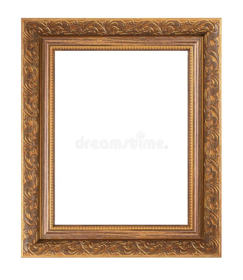 Rocznika obrazka drewniana rama odizolowywająca na białym tle obrazy royalty free