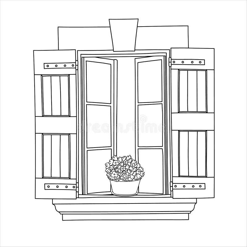 Rocznika okno z kwitnieniem kwitnie w garnku ilustracja wektor