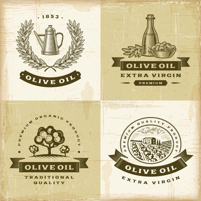 Rocznika oliwa z oliwek etykietki ustawiać ilustracji