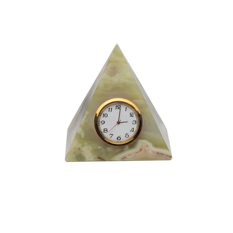 Rocznika onyksowy zegarek w formie ostrosłupa odizolowywającego na białym tle obrazy stock