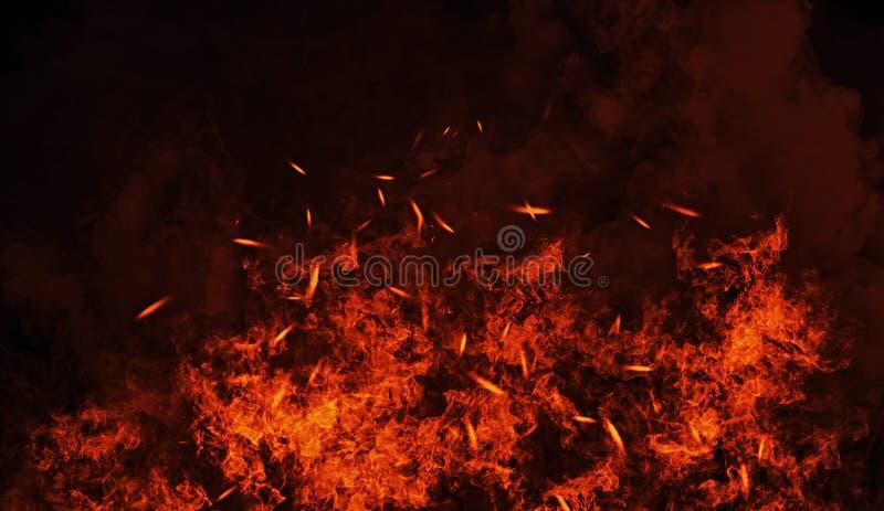 Rocznika oparzenie płonie z cząsteczek embers na odosobnionym czarnym tle Pożarniczy tekstura skutka tło obraz royalty free