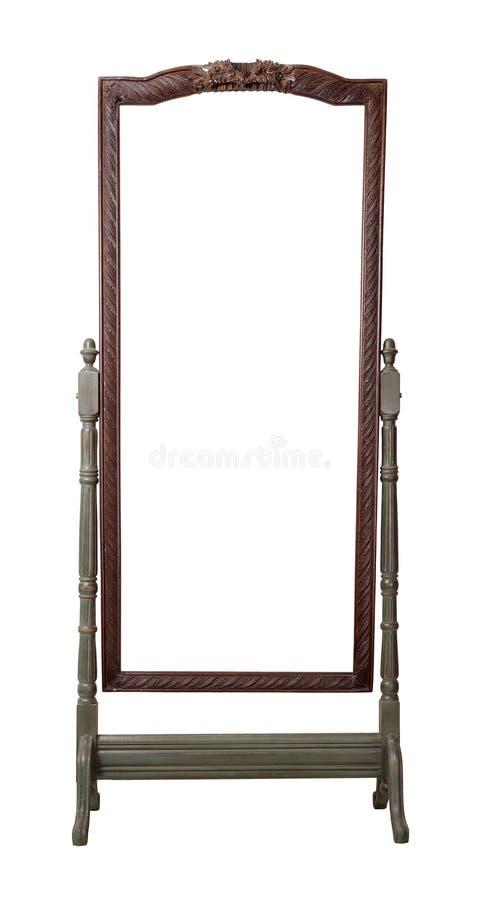 Rocznika opatrunku drewniany ozdobny prostokątny cheval trwanie lustro malował w ciemnozielonych i brown kolorach odizolowywający obraz stock