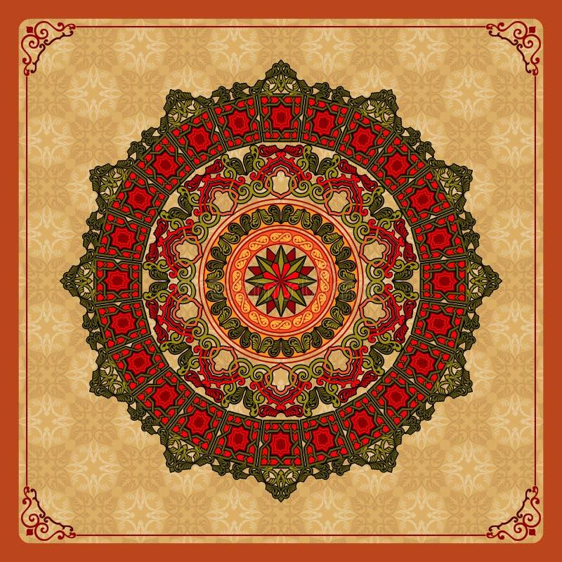 Rocznika ornamentacyjny projekt kolorowy, arabesk mandala/różyczka royalty ilustracja