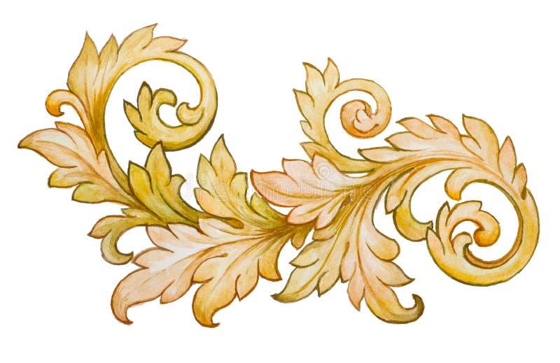 Rocznika ornamentu barokowy kwiecisty złoty wektor royalty ilustracja