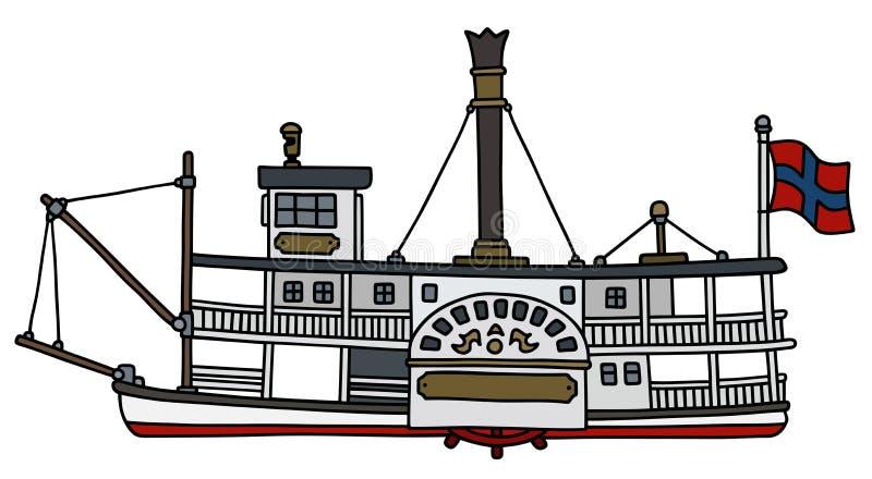 Rocznika paddle steamboat ilustracji