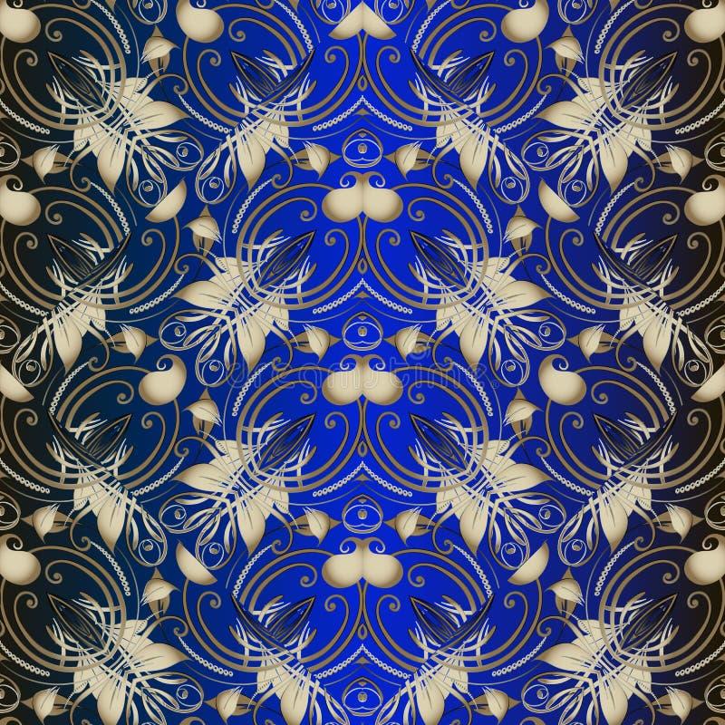 Rocznika Paisley kwiecisty wektorowy bezszwowy wzór Elegancja zmrok - błękitny ornamentacyjny tło Złociści etniczni stylowi Paisl royalty ilustracja