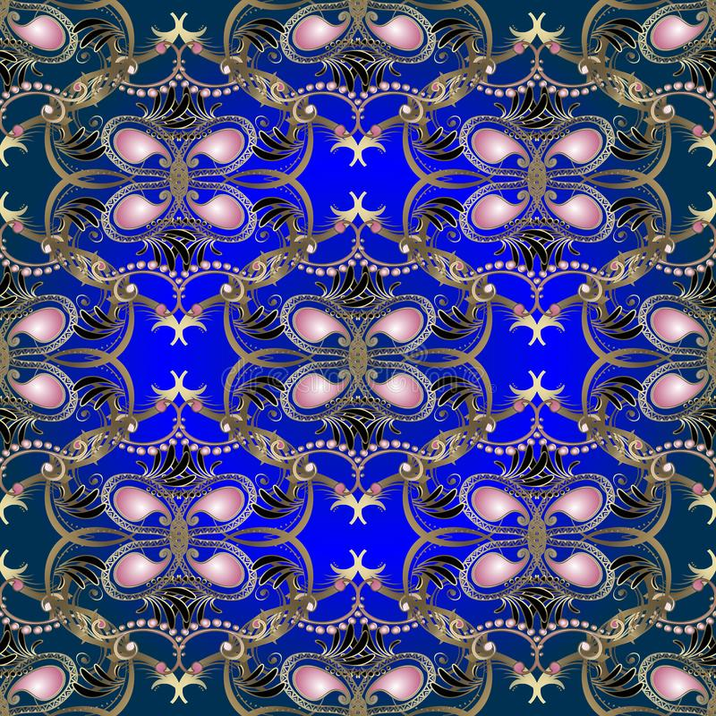 Rocznika Paisley kwiecisty złocisty wektorowy bezszwowy wzór Ornamentacyjnej elegancji etniczny stylowy błękitny tło Różowi Paisl royalty ilustracja