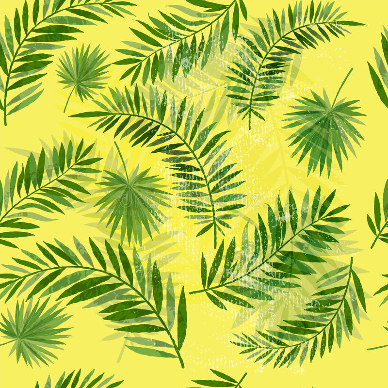 Rocznika Palmowego liścia Bezszwowy wzór ilustracja wektor