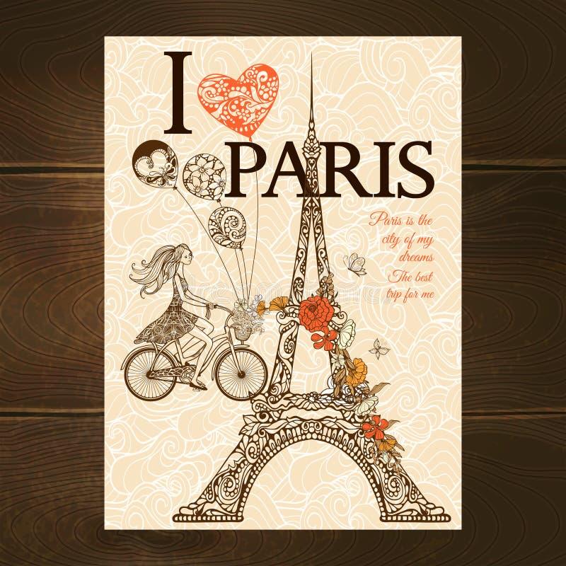 Rocznika Paryż plakat royalty ilustracja