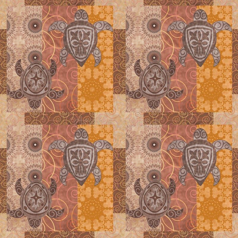 Rocznika patchwork z obrazka grunge tłem ilustracja wektor