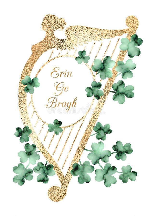 Rocznika Patrick dnia Świątobliwa kartka z pozdrowieniami z harfą i shamrocks ilustracji