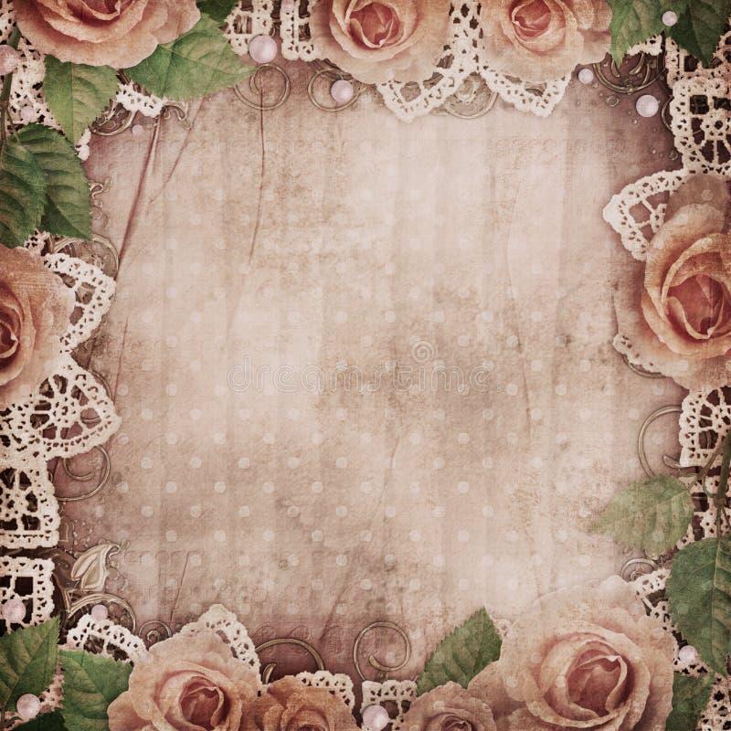Rocznika piękny tło z różami, koronka, operla fotografia royalty free