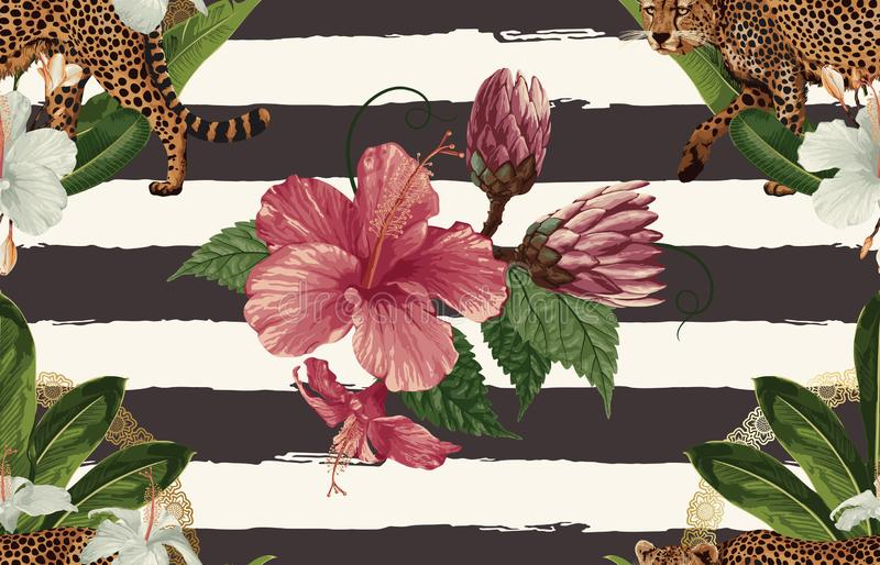Rocznika Pi?kny i modny Bezszwowy Tropikalny Deseniowy projekt w super wysoka rozdzielczo?? Deseniowa dekoracji tekstura ilustrac royalty ilustracja