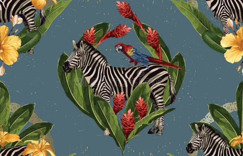 Rocznika Pi?kny i modny Bezszwowy Tropikalny lato wzoru projekt w super wysoka rozdzielczo?? Deseniowa dekoracji tekstura Rocznik royalty ilustracja