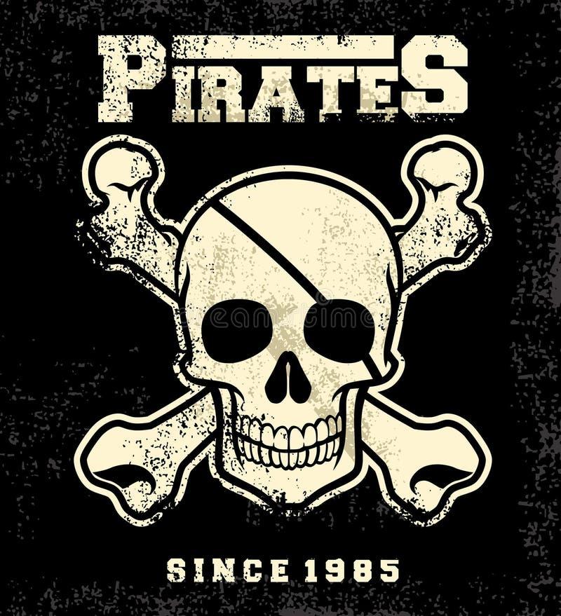 Rocznika pirata czaszka ilustracja wektor
