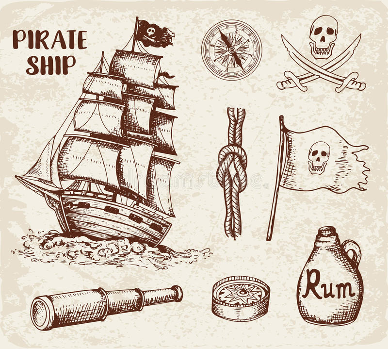 Rocznika pirata statek royalty ilustracja