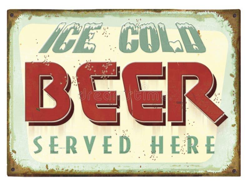 Rocznika piwa cyny znaka plakat ilustracja wektor