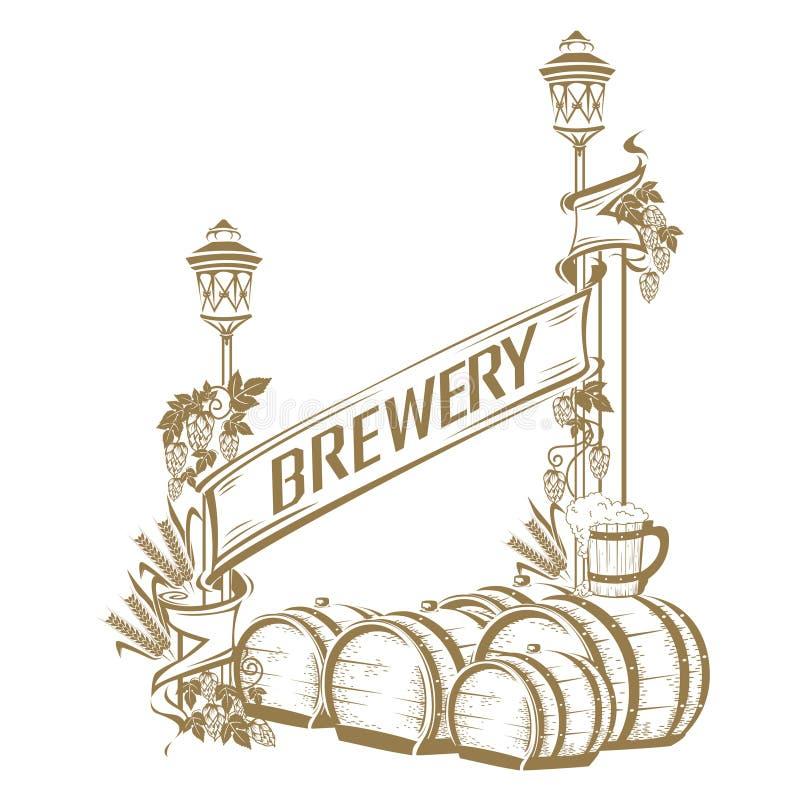 Rocznika piwa rama ilustracja wektor