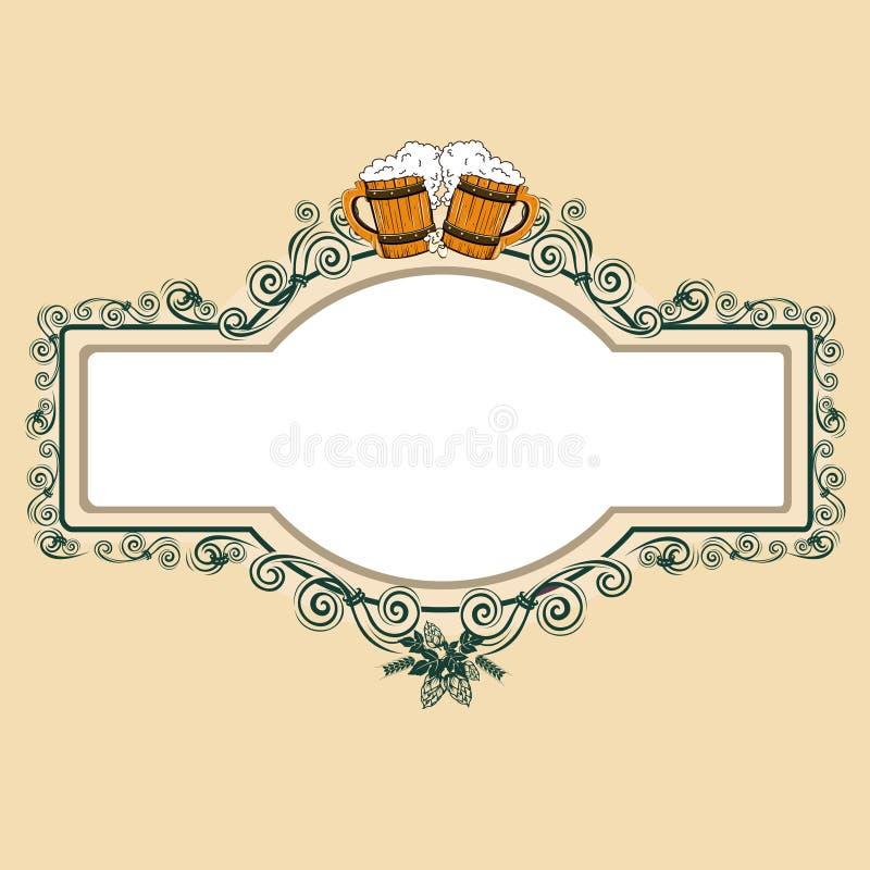 Rocznika piwa rama royalty ilustracja