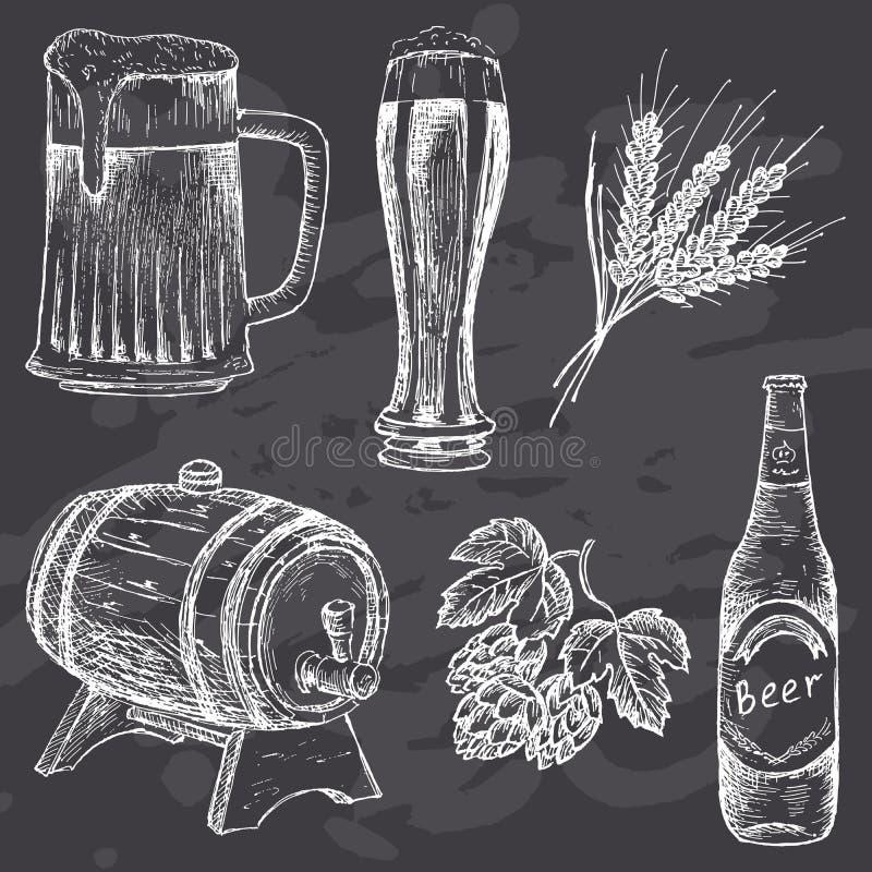 Rocznika piwo na kredowej desce royalty ilustracja