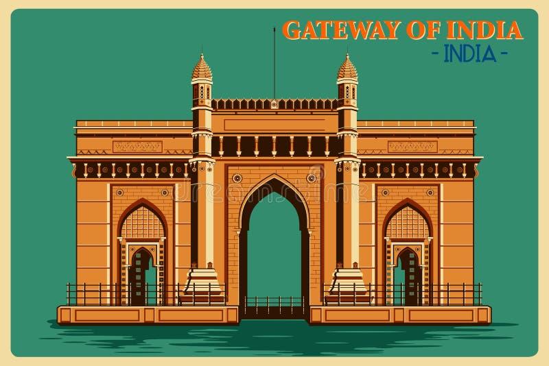 Rocznika plakat brama India w Mumbai sławnym zabytku India ilustracja wektor