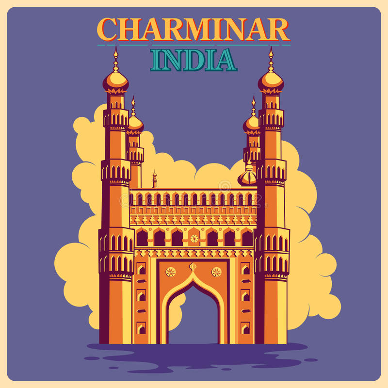 Rocznika plakat Charminar w Hyderabad sławnym zabytku India ilustracji