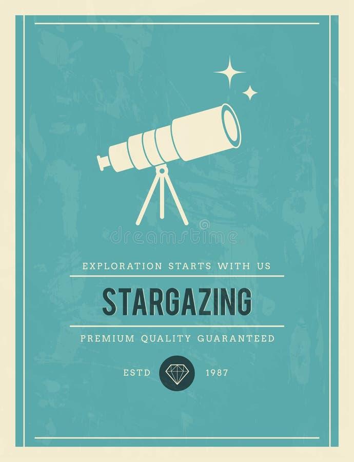Rocznika plakat dla stargazing ilustracja wektor