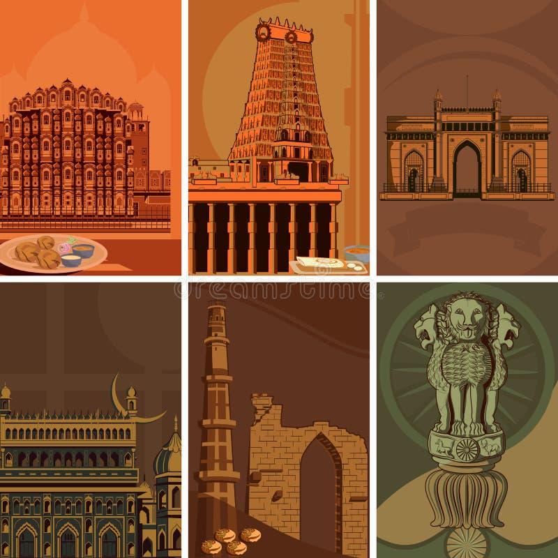 Rocznika plakat sławny punktu zwrotnego miejsce z dziedzictwo zabytkiem w India royalty ilustracja