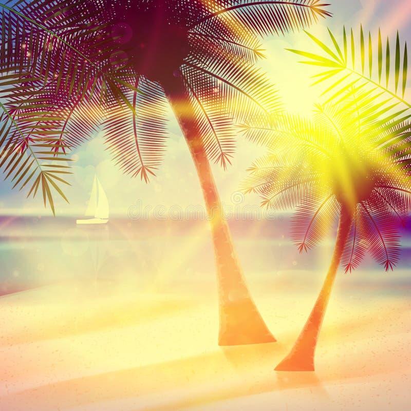 Rocznika plakat tropikalna plaża ilustracja wektor