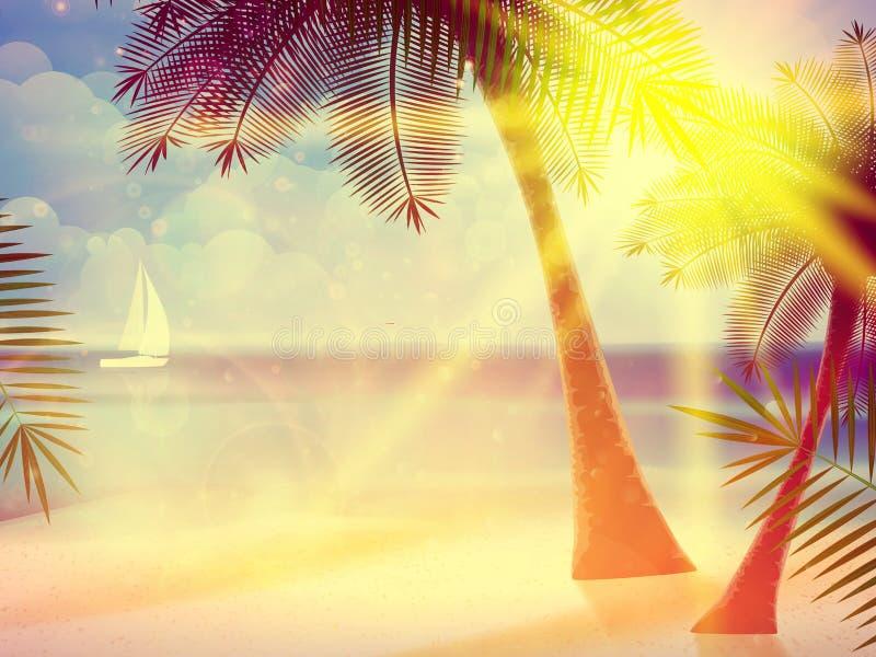 Rocznika plakat tropikalna plaża royalty ilustracja