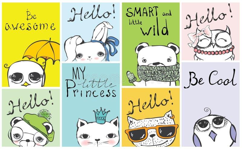 Rocznika plakat z eleganckim kotem, sową, niedźwiedziem, ptakiem, królikiem i ręka rysującymi tekstami, royalty ilustracja
