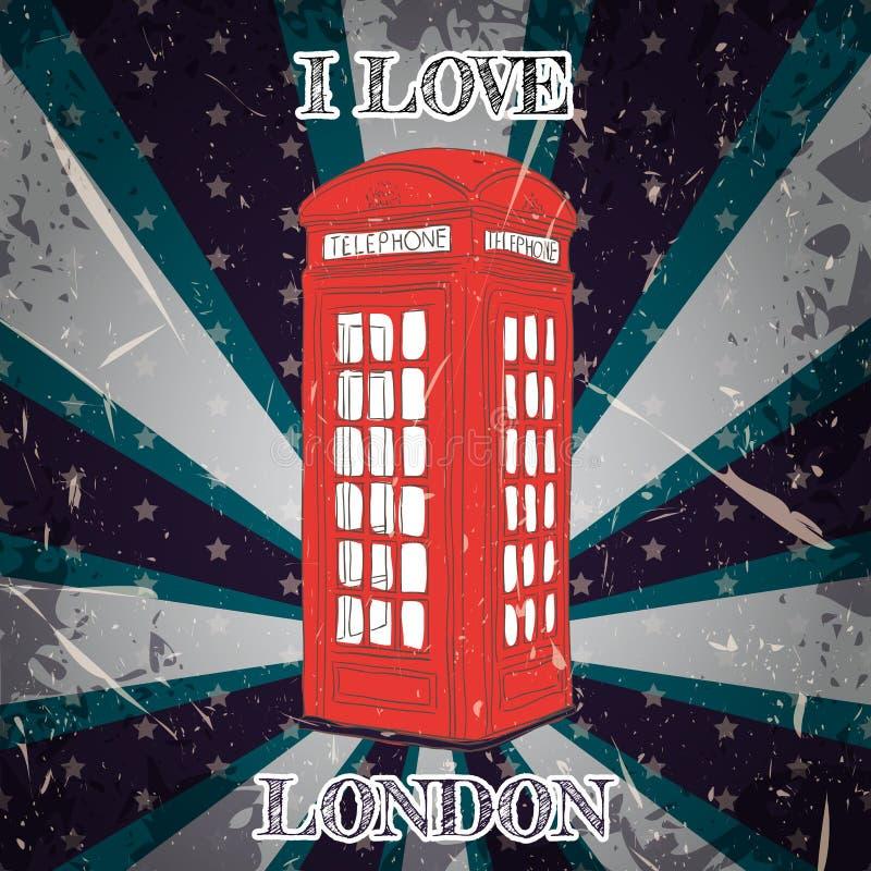 Rocznika plakat z królewskim brytyjskim strażnikiem na grunge tle Retro ilustracja w nakreślenie stylu 'kocham Lo ilustracja wektor