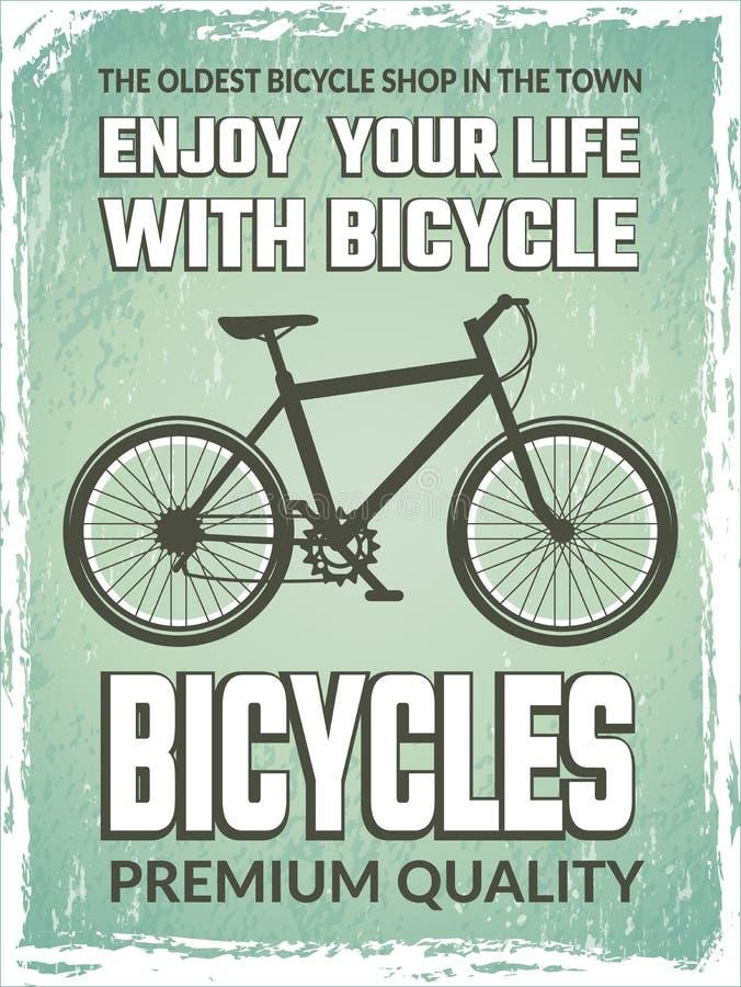 Rocznika plakat z monochromatyczną ilustracją bicykl ilustracji