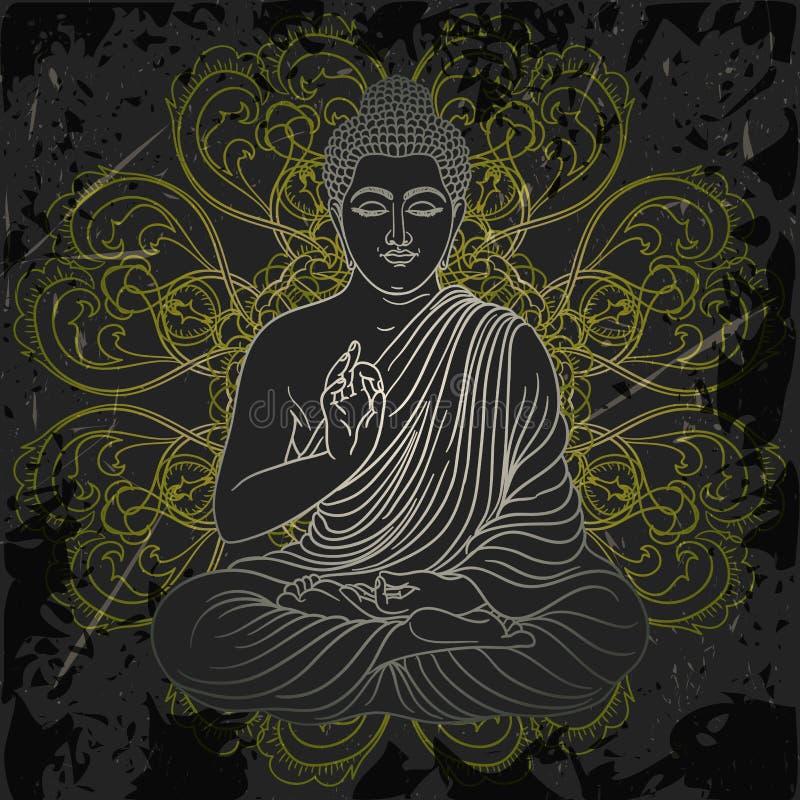Rocznika plakat z siedzieć Buddha na grunge tle nad ozdobny mandala round wzorem ilustracji