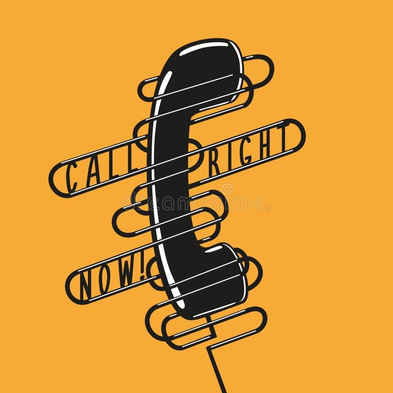 Rocznika plakat z telefonem czarny handset ilustracja wektor