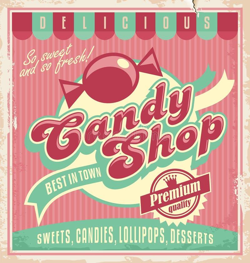 Rocznika plakatowy szablon dla cukierku sklepu. ilustracji