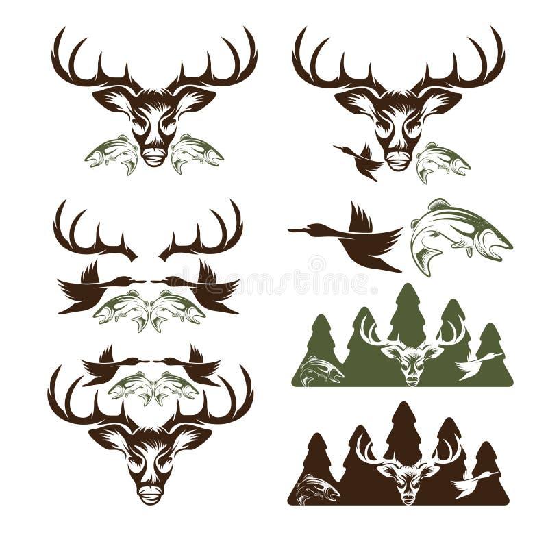 Rocznika połowu i polowania etykietki i projektów elementy ilustracji