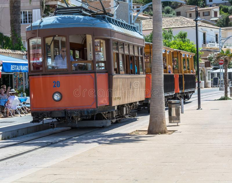 Rocznika pociąg, tramwaj w Portowym De Soller, Mallorca obraz stock