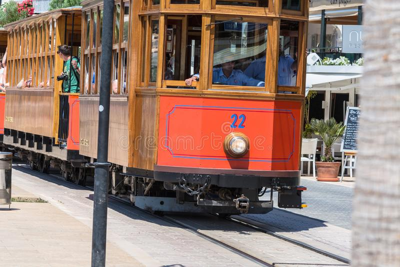 Rocznika pociąg, tramwaj w Portowym De Soller, Mallorca obraz royalty free